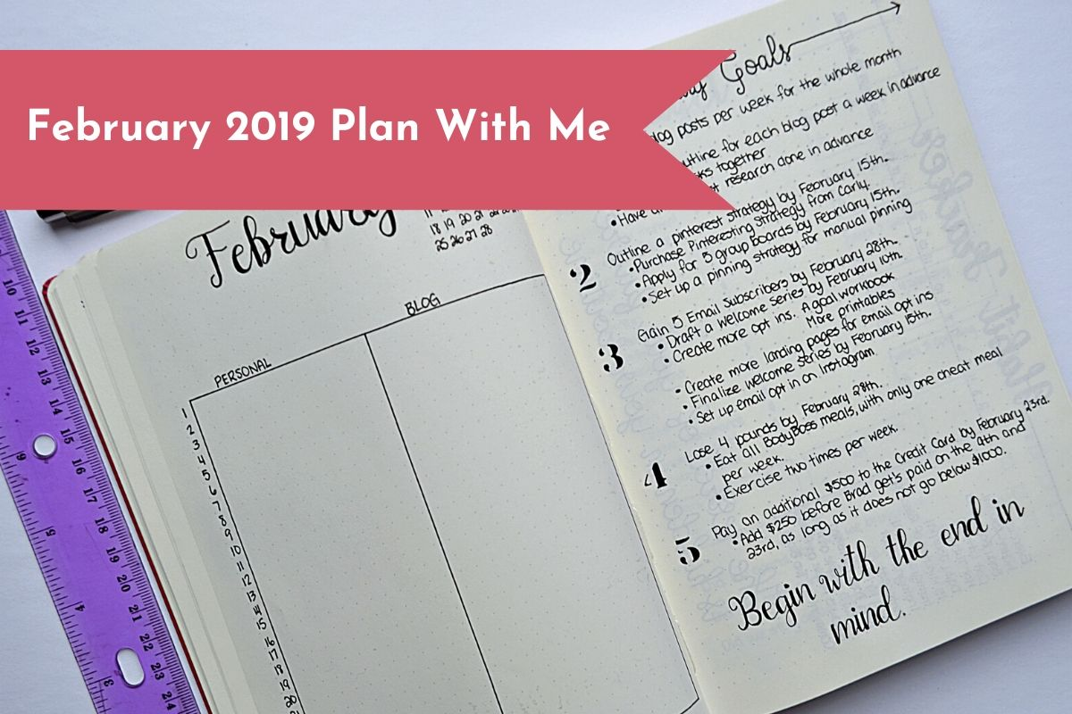 February Bullet Journal plan with me. Layouts include a monthly layout, budget pages, trackers and more!