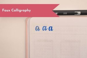 Stuck trying to create pretty lettering on your Bullet Journal layouts? Learn Faux calligraphy quickly so that you can get to planning faster!