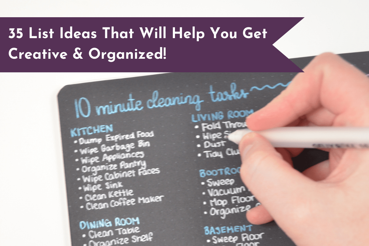 Get 35 list ideas that you can include in your planner or Bullet Journal to get your life organized, increase productivity and get creative!