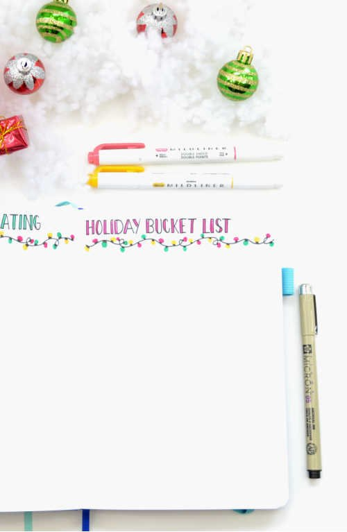Create a really simple winter bucket list in your Bullet Journal with a simple header, some doodles, and a splash of colour!