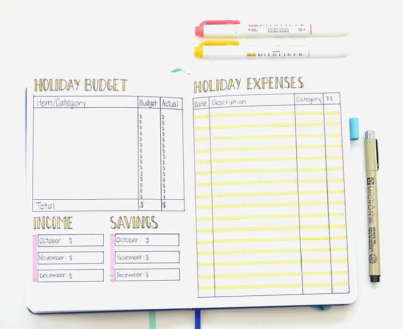 Set yourself a holiday budget to stay on track financially! This particular Bullet Journal layout includes a budget and an expense tracker!