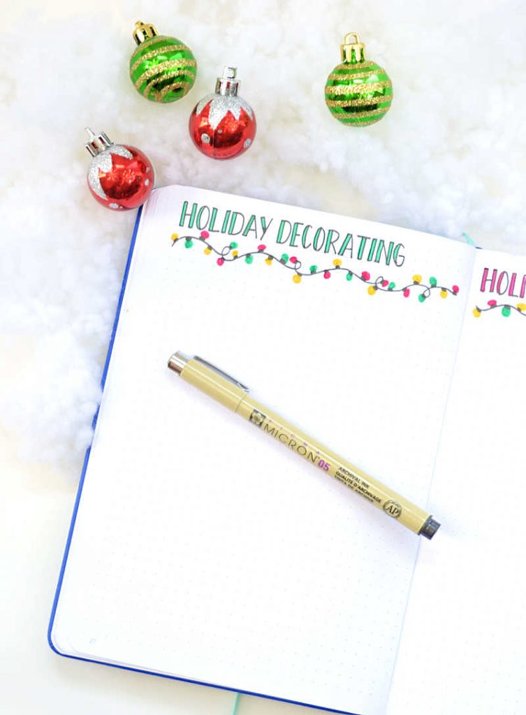 Brainstorm how you want to decorate your home for the holidays this year with this Bullet Journal layout!