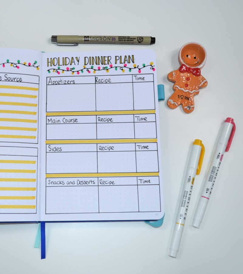 If you are hosting a dinner for Christmas, this will be one the biggest things to plan! Use this Bullet Journal layout to plan your entire holiday dinner!