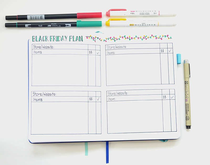 Save time with your holiday shopping by planning it all out in advance in your Bullet Journal!