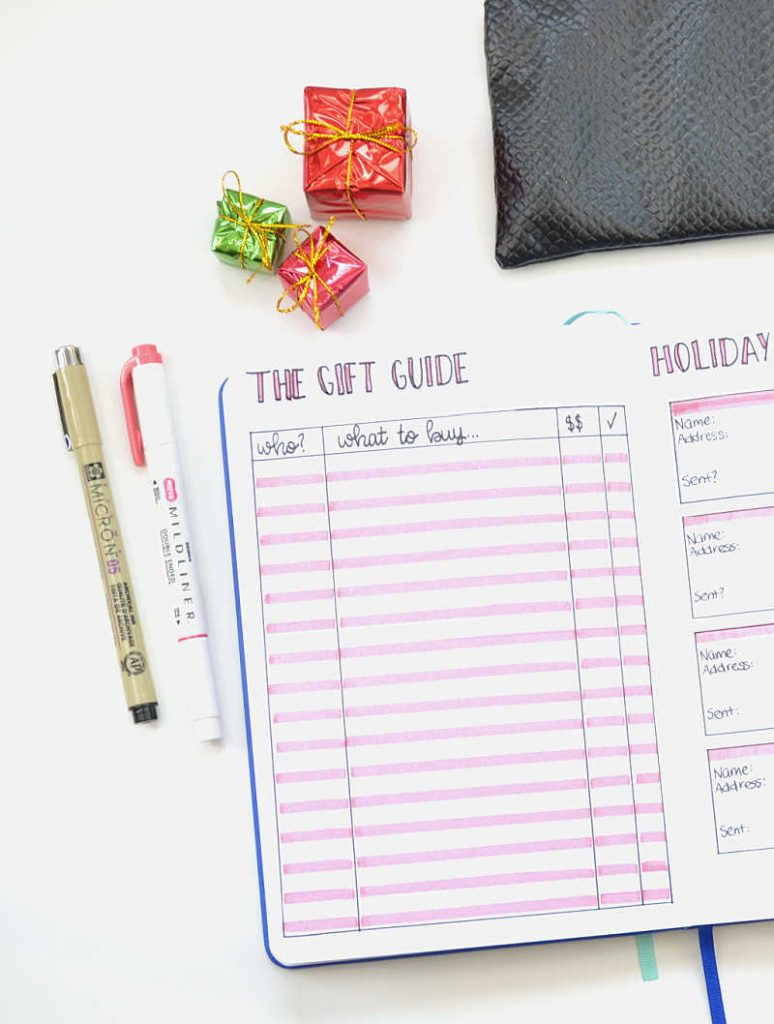Get your gifts for everyone organized with this holiday Bullet Journal layout!