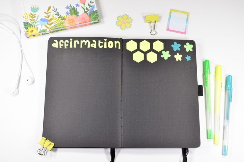 Affirmations are something new I am trying inside my Bullet Journal, and I wanted to try it again in May! I like leaving the space open so I can write down everything I want to include!