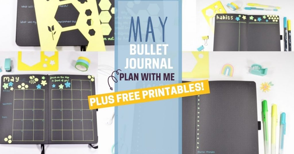 In this May monthly plan with me in my Bullet Journal, see how I set up my different collections and my bumble bee theme!